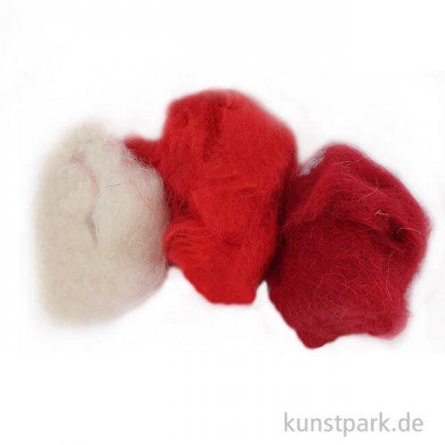 Schafwolle - Rot-Mix, 3x10g sortiert