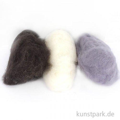 Schafwolle - Schwarz-Weiß, 3x10g sortiert