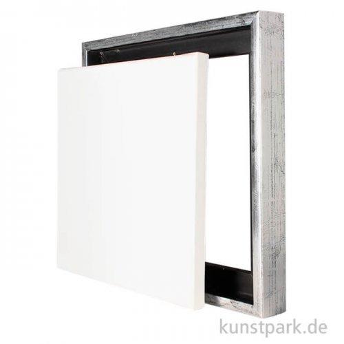 Schattenfugenrahmen mit Keilrahmen - Silber 50 x 50 cm