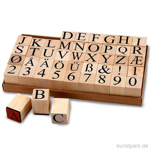 Schaumstoff-Stempel - Alphabet, Holz, 2 x 2 cm, 45 Stück sortiert