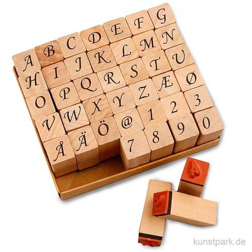 Holzstempel - Alphabet Romantik, 1,3 cm, 42 Stück sortiert