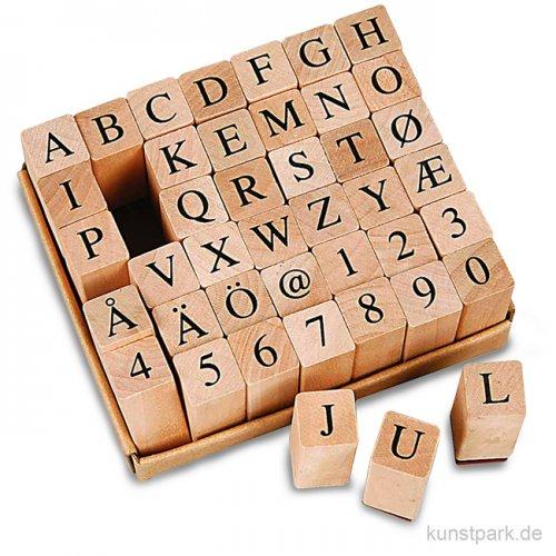 Schaumstoff-Stempel - Alphabet Trendy, Holz, 1,3 cm, 42 Stück sortiert