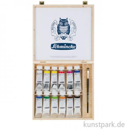 Schmincke AKADEMIE Acrylfarbe Holzkasten mit 12 x 60 ml und Zubehör
