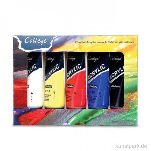 Schmincke COLLEGE Acryl Kartonset mit 5 Tuben 75 ml