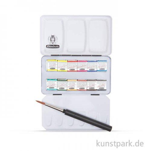 Schmincke HORADAM Aquarell kompakt, 12 halbe Näpfchen + Pinsel