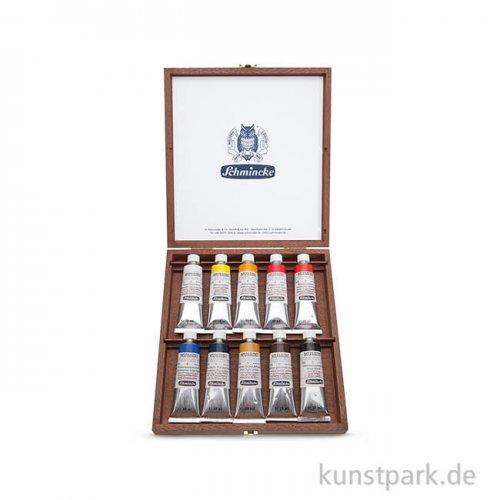 Schmincke MUSSINI - Flacher Holzkasten 10x35 ml
