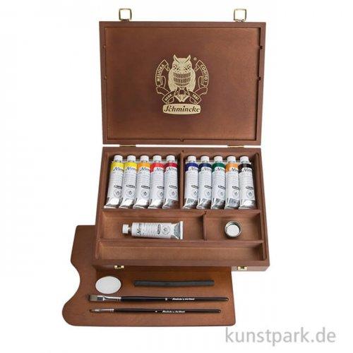 Schmincke NORMA Ölfarbe 11 x 35 ml kleiner Holzkoffer + Zubehör