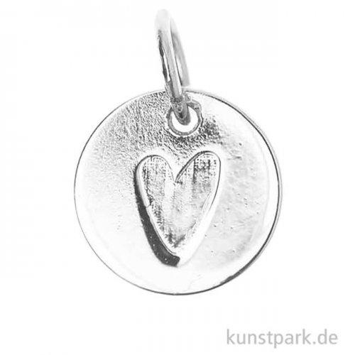 Schmuck-Anhänger Mini-Scheibe - Herz, Silber