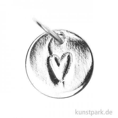 Schmuck-Anhänger Mini-Scheibe - Herzumriss, Silber