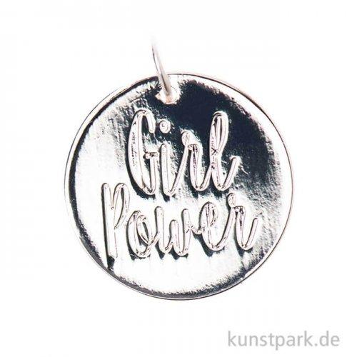 Schmuck-Anhänger Scheibe - Girl Power, Silber