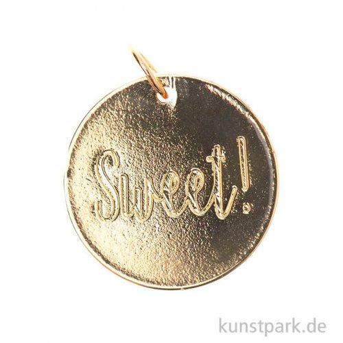 Schmuck-Anhänger Scheibe - Sweet, Gold