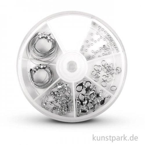Schmuck-Starter-Set mit umfangreichem Zubehör - silber