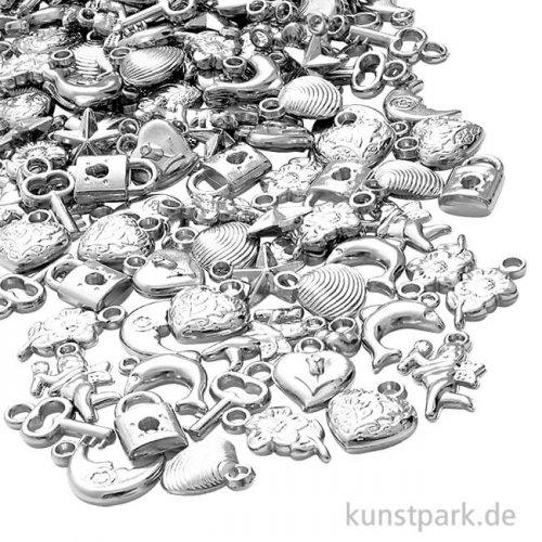 Schmuckanhänger-Mix silber, Größe 15-20 mm, 80 g sortiert