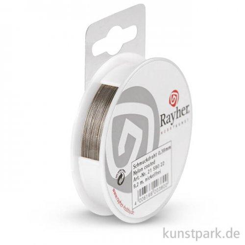 Schmuckdraht - Silber, 0,38 mm Nylon coated, 9,2 m Spule