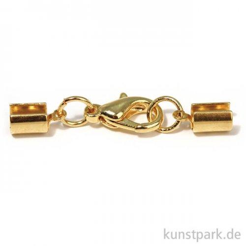 Schmuckverschluss montiert mit Karabiner, 4 mm, 1Stück Gold