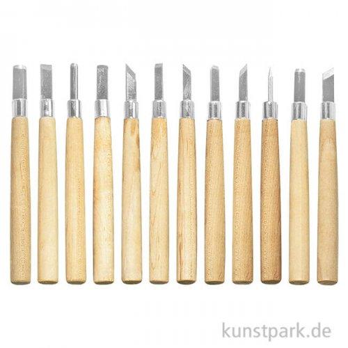 Schnitzwerkzeug Master-Set, 12 teilig mit Holzgriffen