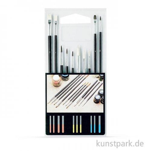 Schulmalpinsel Set-1 mit 10 verschiedenen Pinseln