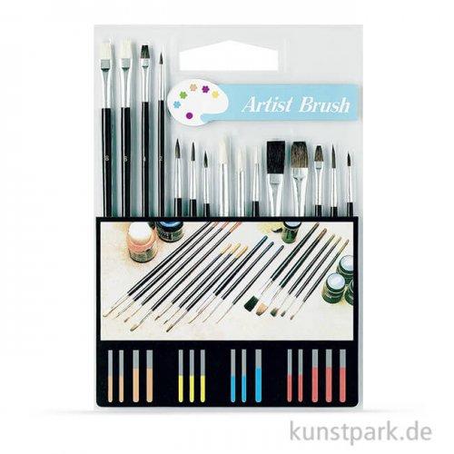 Schulmalpinsel Set-2 mit 15 verschiedenen Pinseln