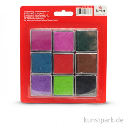 Scrapbooking Stempelkissen-Set, 9 Farben gemischt, 3,5x3,5 cm