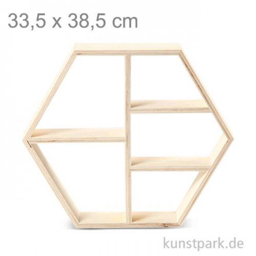 Sechseckiges Regal aus Holz mit 5 Fächern 33,5 x 38,5 cm