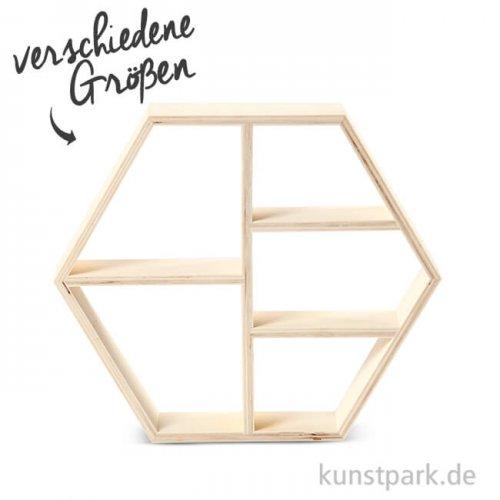 Sechseckiges Regal aus Holz mit 5 Fächern