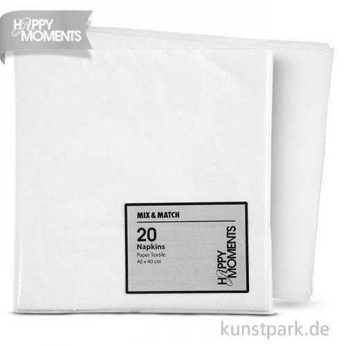 Servietten aus Stoffimitat, 40x40 cm, 20 Stück - weiß