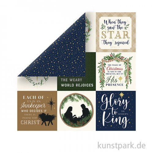 Silent Night Scrappapier - 4X4 Journaling Cards