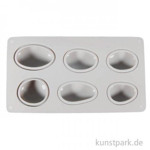 Silikon-Gießform - Steine, 14,5x26x3,5 cm, 6 Formen