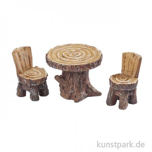 Mini Sitzgruppe in Holzoptik, 3x4 cm, 3-teilig