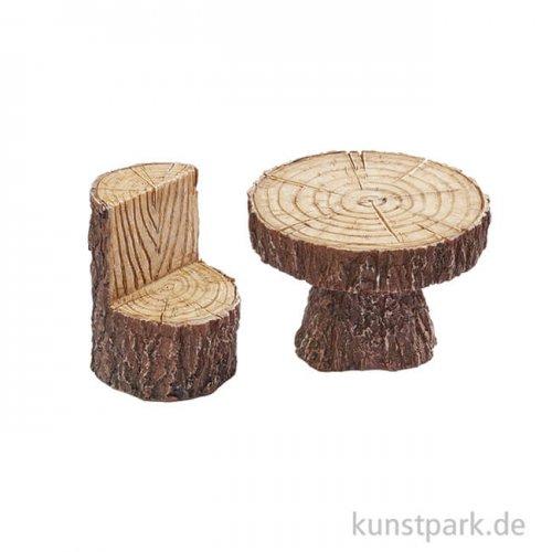 Mini Sitzgruppe in Holzoptik, 4,3x6 cm, 2-teilig