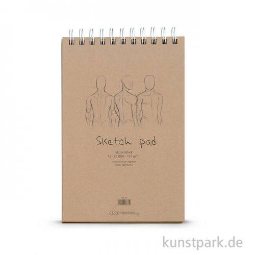 Sketch Pad - Kraftpapier Block, Spiral, 80 Blatt, 135g DIN A5