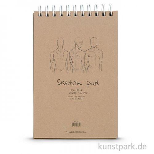 Sketch Pad - Kraftpapier Block, Spiral, 80 Blatt, 135g