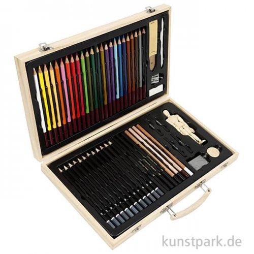 Skizzen-Starter-Set für Zeichner mit viel Zubehör im Holzkoffer