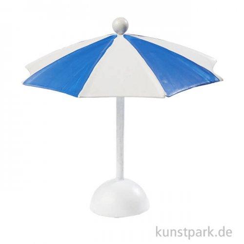 Mini Sonnenschirm aus Kunststoff - Blau-Weiß, 10x10 cm