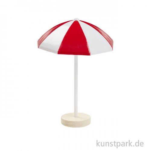 Mini Sonnenschirm aus Kunststoff, ca. 6 cm Rot-Weiß