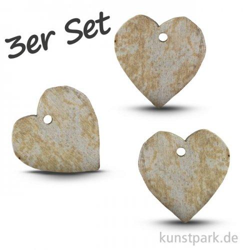 Speckstein Anhänger - Herz, 3-er Set