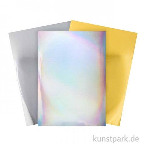 Spiegelkarton Block - Gold, Silber & Holografisch, 21 x 29,5 cm
