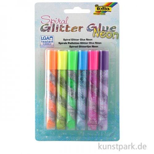 Spiral Glitter-Glue Neon, 6 x 10,5 ml, farbig sortiert