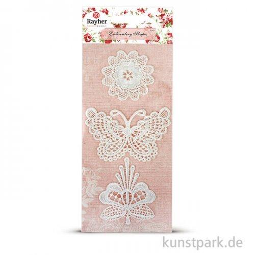 Spitzenmotive 3 St. 5-8 cm - Blumen & Schmetterling