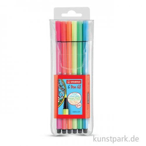 STABILO Pen 68 Filzstift 6er Etui Neon