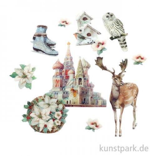 Stamperia Clear Die Cuts - Winter Tales, 40 Stanzteile aus Kunststoff