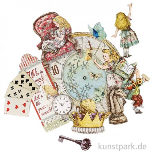 Stamperia Die Cuts - Alice Through the Looking Glass, 47 Stanzteile