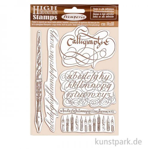 Stamperia Natural Rubber Stamp - Calligraphy