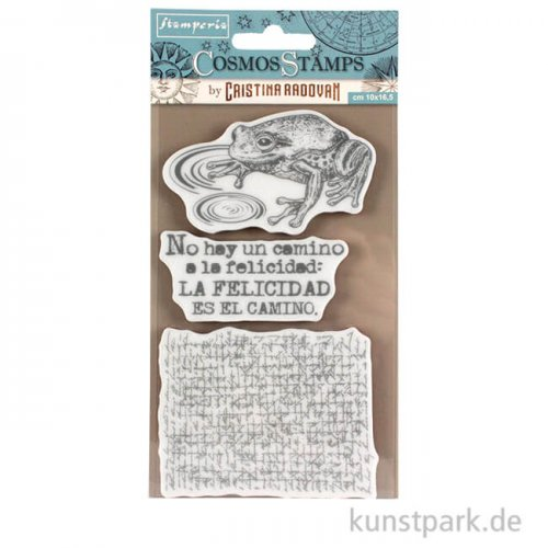 Stamperia Natural Rubber Stamp - Cosmos Frog, 10 x 16,5 cm