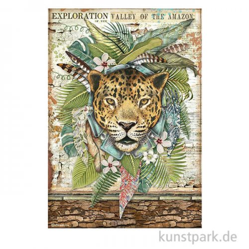 Stamperia Reispapier - Amazonia Jaguar, DIN A4
