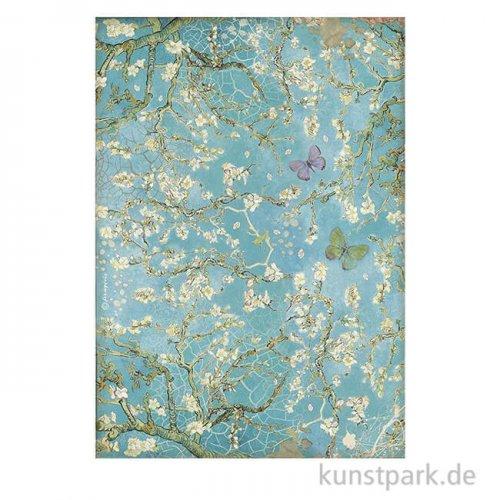 Stamperia Reispapier - Atelier des Arts, Blossom Blue with Butterfly, DIN A4
