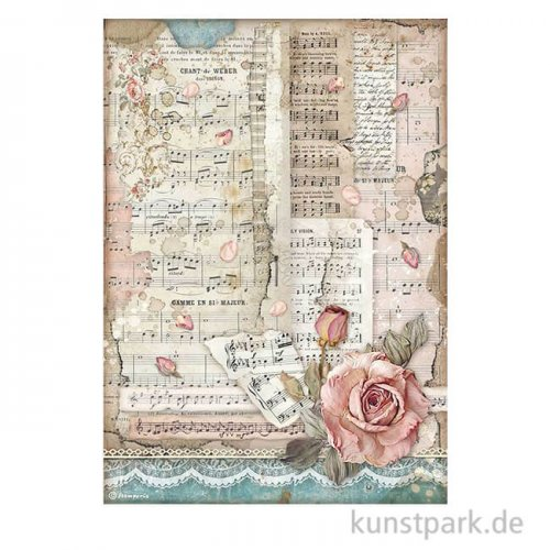 Stamperia Reispapier - Passion Roses and Music, DIN A4