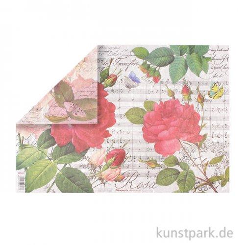 Stamperia Reispapier - Red roses and music, 48 x 33 cm, Einzelblatt