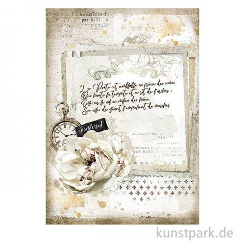 Stamperia Reispapier - Romantic Journal Manuscript and Clock DIN A4