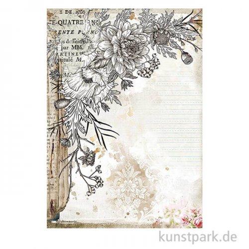 Stamperia Reispapier - Romantic Journal Stylized Flower DIN A4